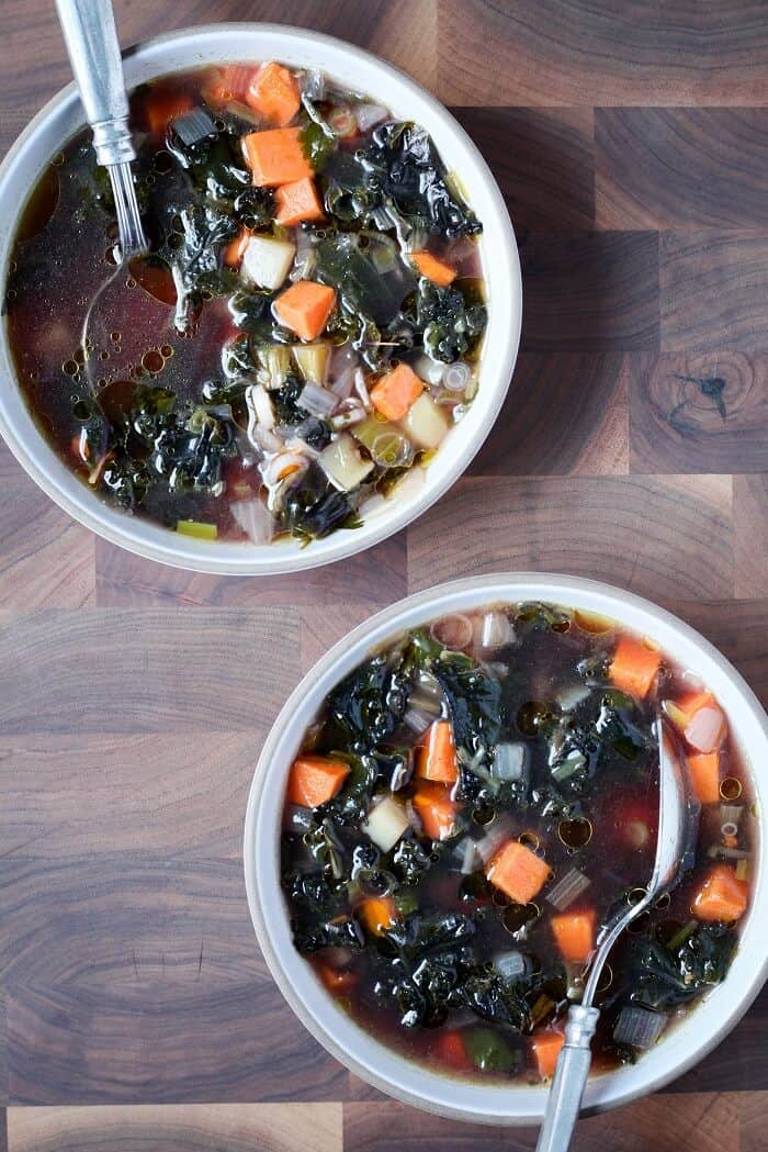 kale and sweet potato soup w cumin