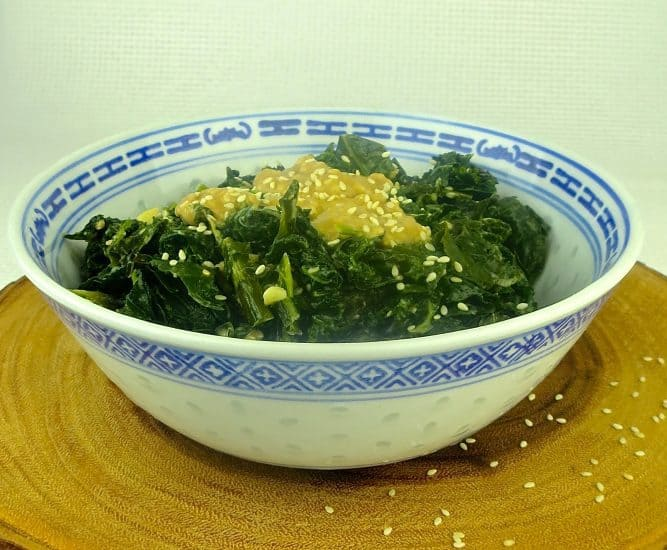 kale with seasame tahini sauce