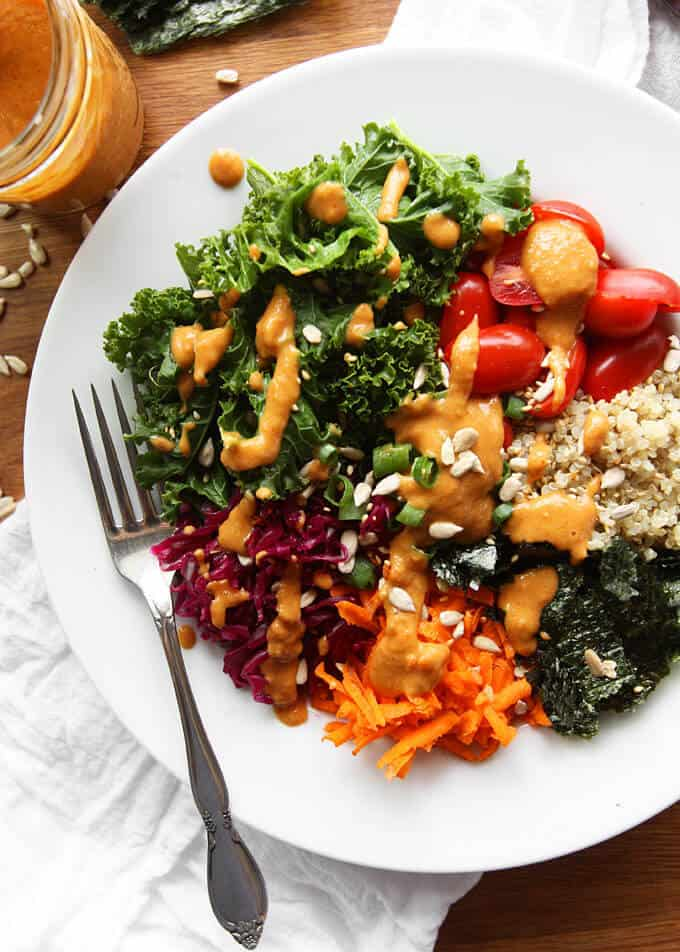 vegan kale quinoa bowl kitchen paper