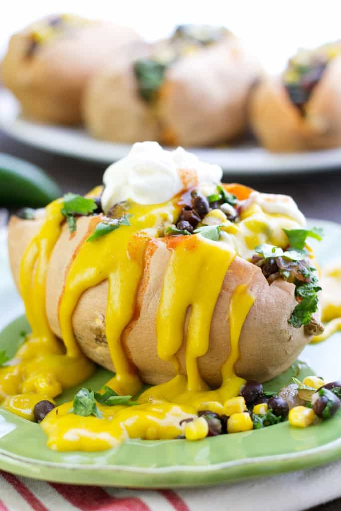 vegan stuffed mexican sweet potatos