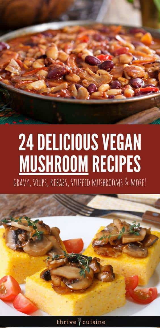 healthy mushroom recipes vegan banner image