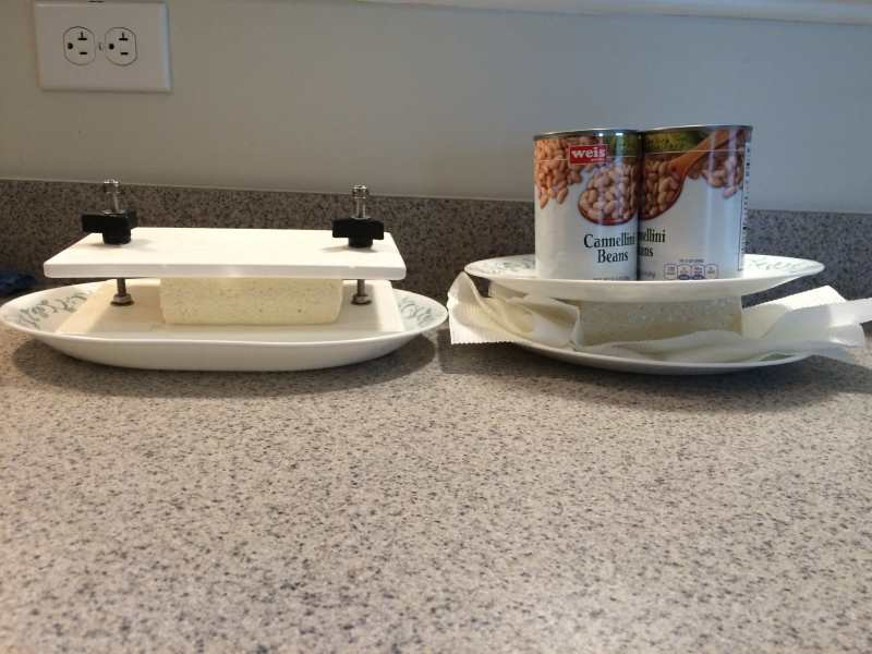 DIY tofu press vs. regular tofu press side by side