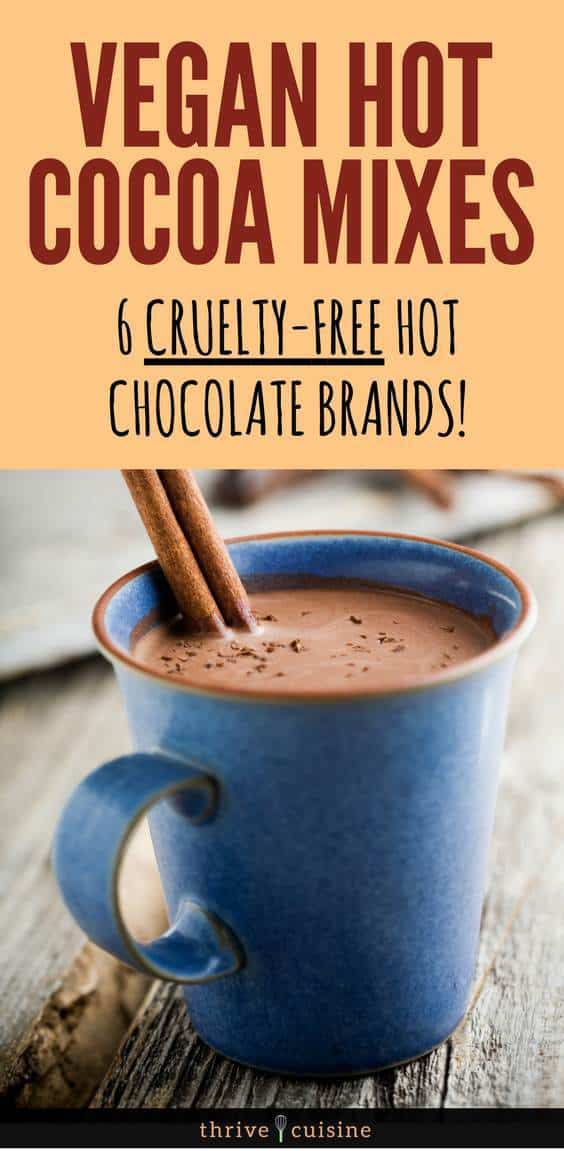 Vegan hot cocoa mix and vegan hot chocolate mixes that you can find #vegan #veganfoods