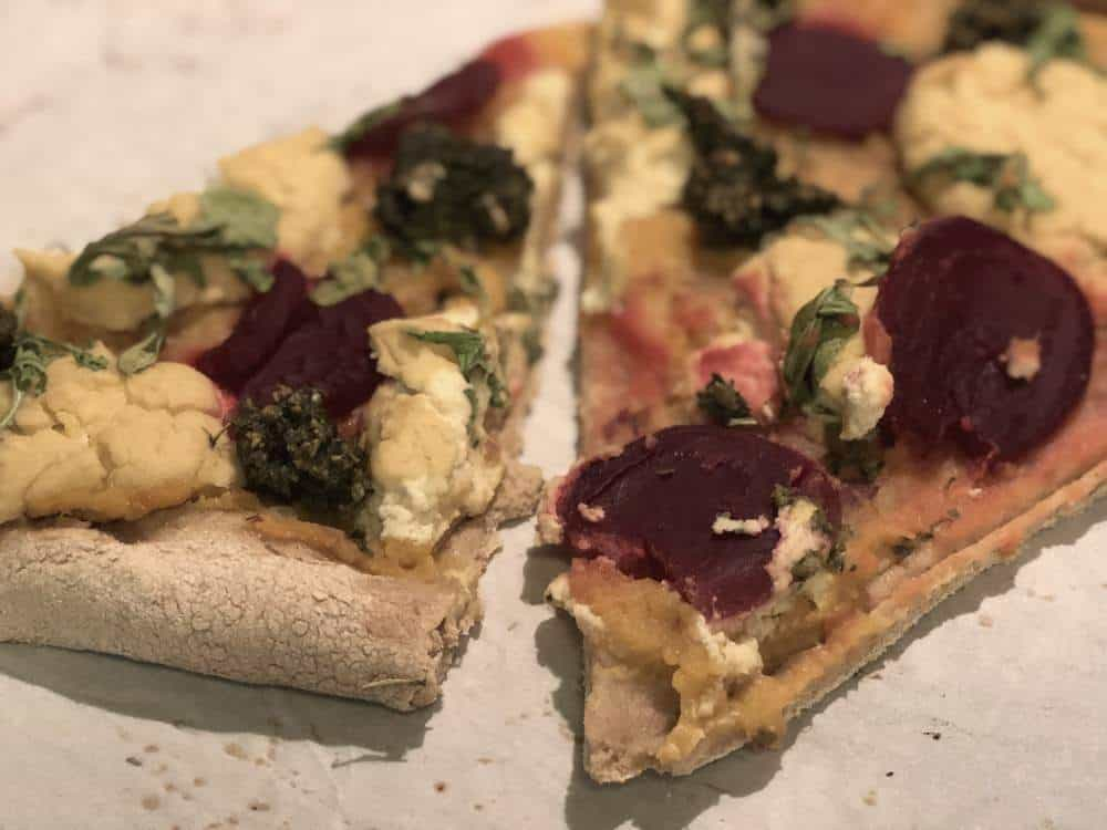 sweet potato basil pesto pizza