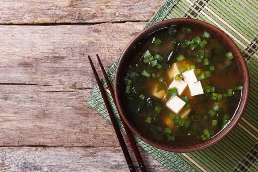 tofu in a miso soup