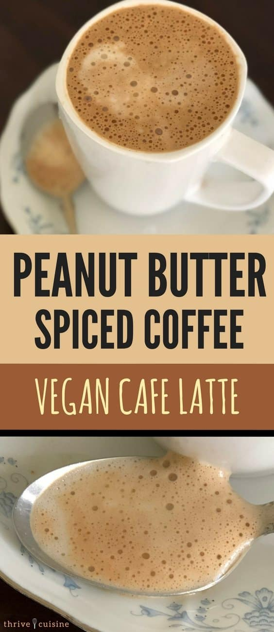 peanut butter spiced vegan coffee two images