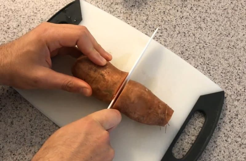 cut the sweet potato in half long ways