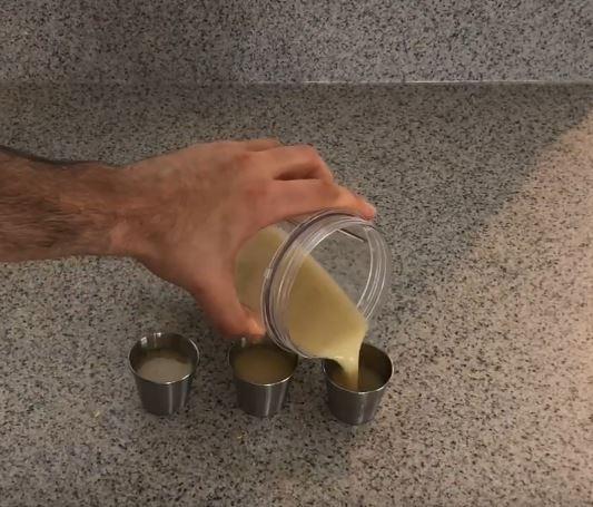 pour into shot glasses