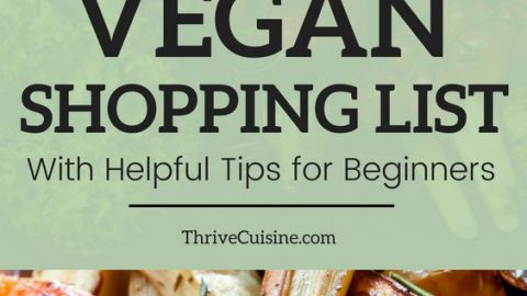 vegan shopping list with helpful tips for beginners pin