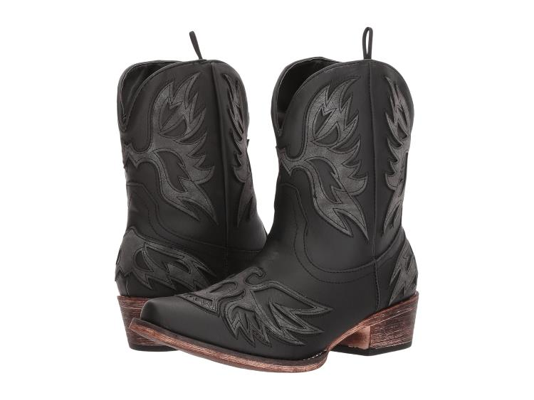 BLACK AMELIA COWBOY BOOTS WITH EAGLE DESIGN BY ROPER