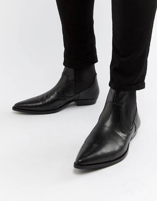 BLACK FAUX LEATHER WESTERN CHELSEA BOOTS BY ASOS DESIGN