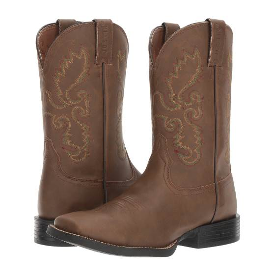 DARK BROWN MULTI-COLOR EMBROIDERED HINTON COWBOY BOOTS WITH SQUARE TOE BY JUSTIN