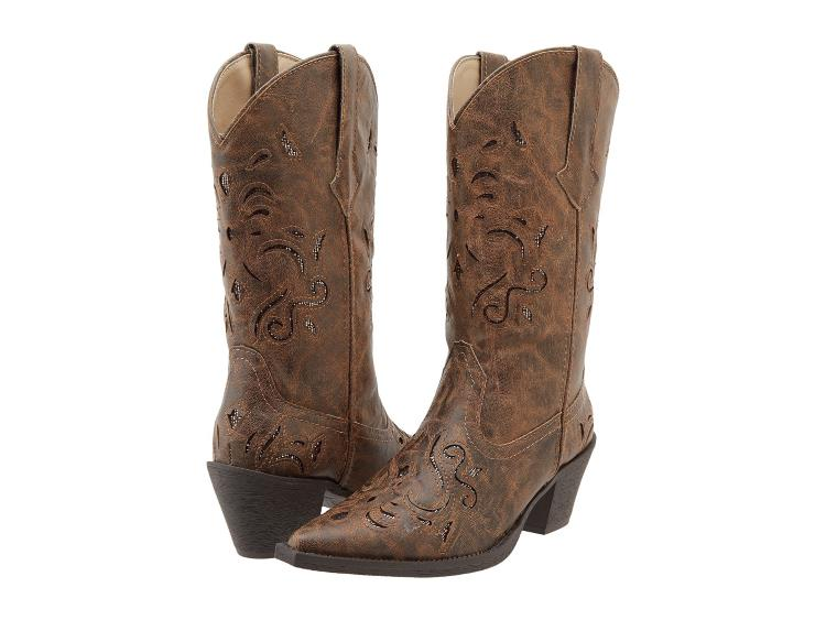 DISTRESSED BROWN COWGIRL BOOTS WITH GLITTER UNDERLAY AND TAPERED HEEL BY ROPER
