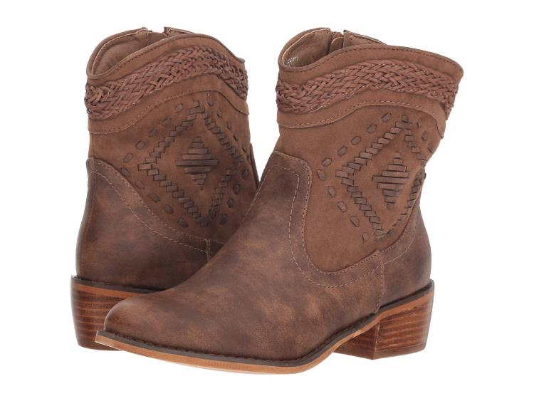 FAUX SUEDE BROWN BRAIDED WESTERN ANKLE BOOTS BY M&F