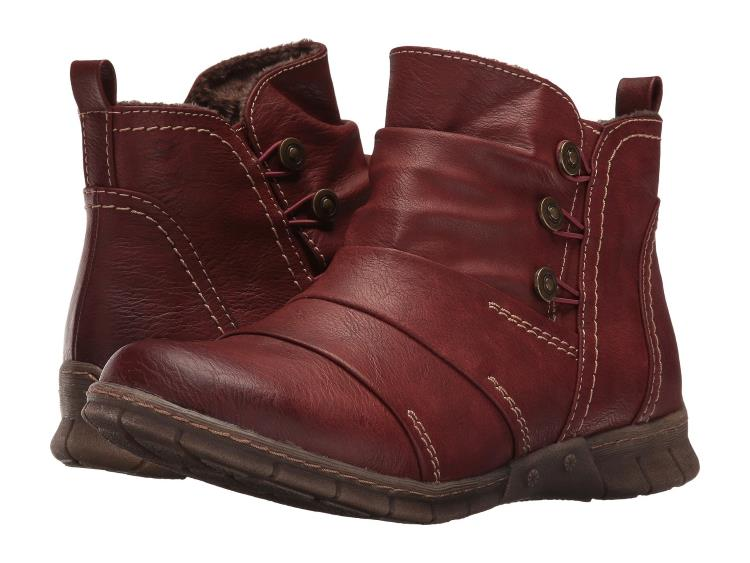 MENS BURGUNDY RUCHED VEGAN LEATHER ANKLE ANATOL BOOTS BY SPRING STEP