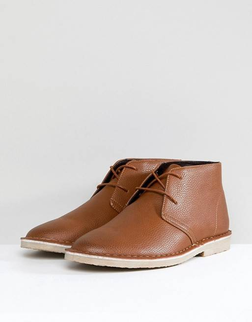 MENS TAN FAUX LEATHER DESERT BOOTS BY ASOS