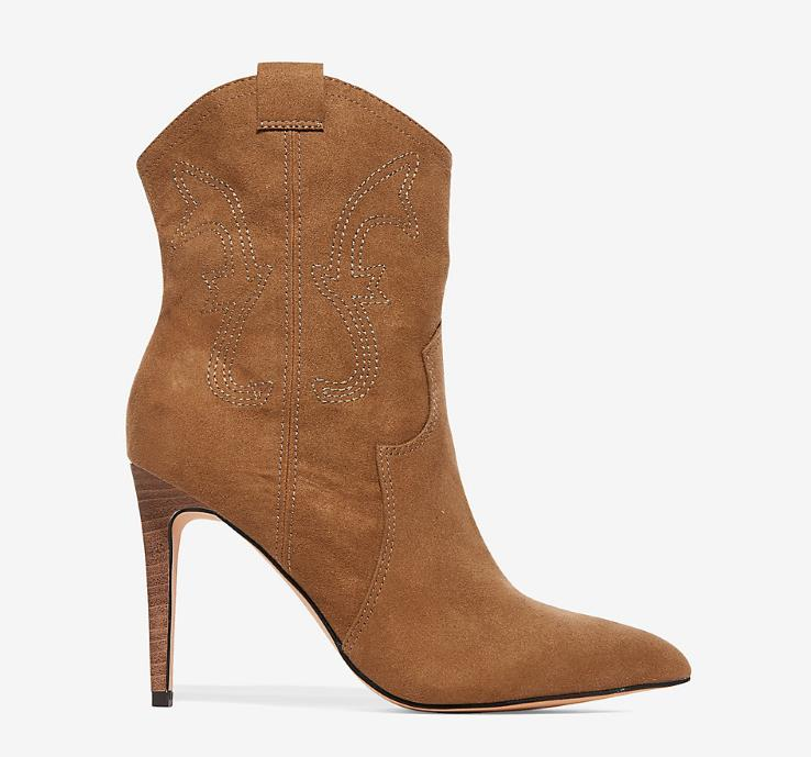 TAN STILETTO HEEL WESTERN STITCH BOOTIES BY EXPRESS