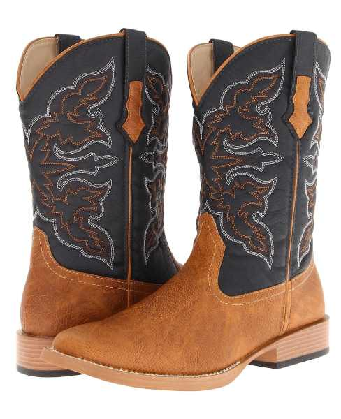 TWO TONE BLACK AND CHESTNUT BROWN WESTERN STITCH COWBOY BOOTS WITH SQUARE TOE BY ROPER