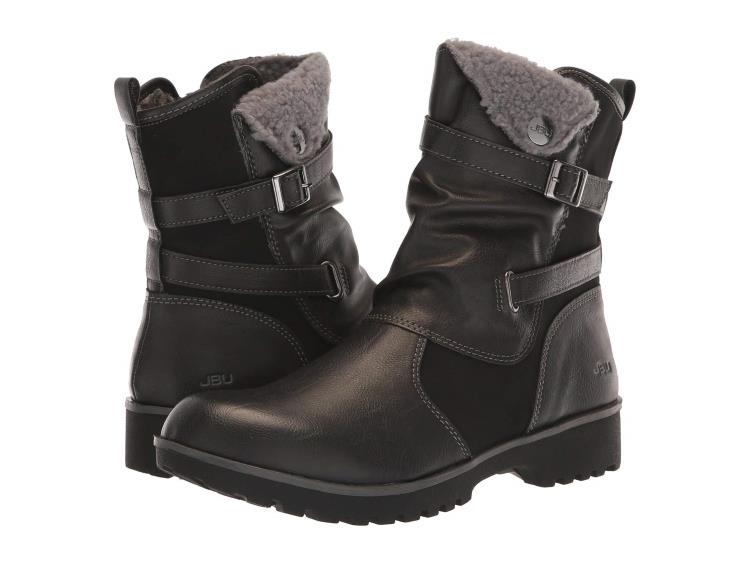 WOMENS BLACK EVANS WEATHER READY MOTO STYLE BOOTS BY JBU