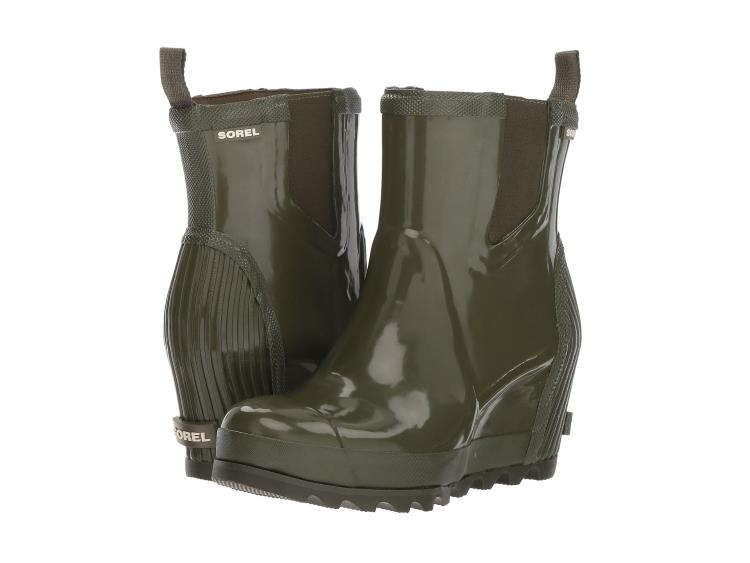 WOMENS GLOSSY OLIVE GREEN JOAN WEDGE CHELSEA RAIN BOOTS