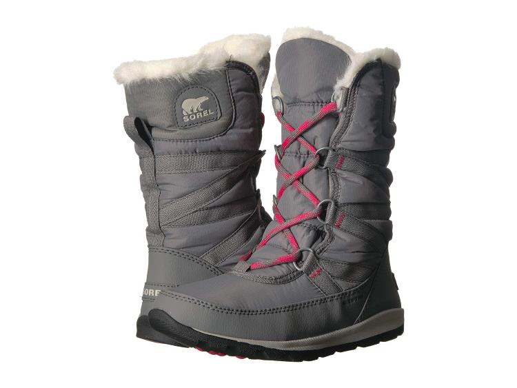 WOMENS GRAY WHITNEY TALL LACE II SNOW BOOTS WITH FAUX FUR COLLAR
