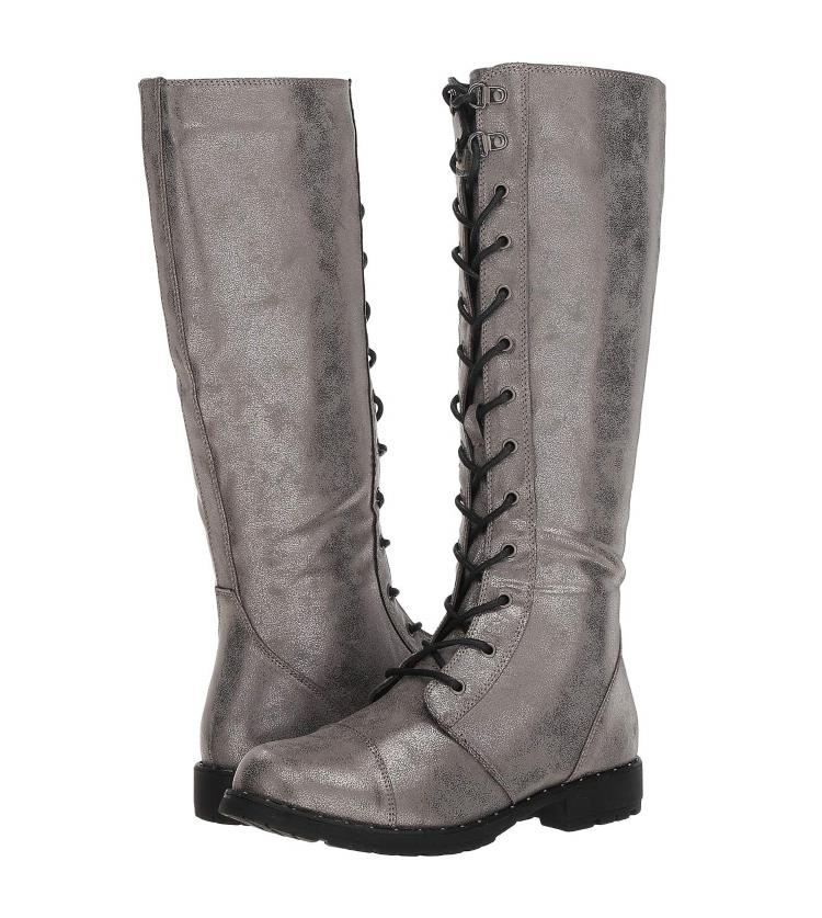 WOMENS METALLIC SILVER ROSET LACE-UP TALL COMBAT BOOTS BY DIRTY LAUNDRY