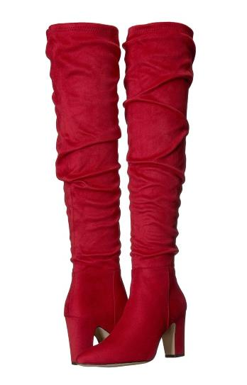 WOMENS RED FAUX SUEDE OVER THE KNEE SLOUCHY RAMI BOOTS BY CHINESE LAUNDRY