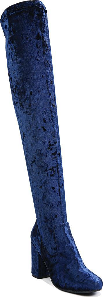 WOMENS ROYAL BLUE CRUSHED VELVET RUMER OVER THE KNEE BOOTS BY CARLOS SANTANA