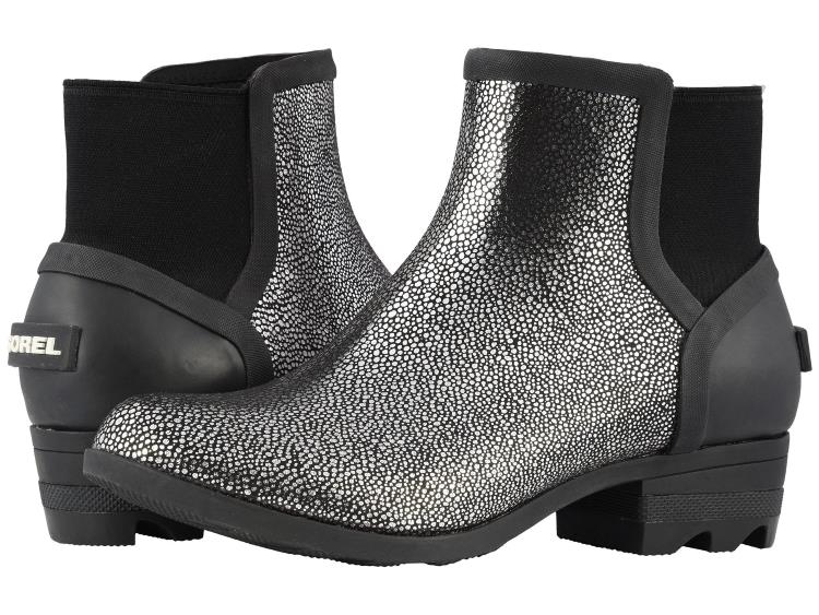 WOMENS SPARKLY SILVER AND BLACK JANEY CHELSEA RAIN BOOTS