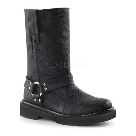 WOMENS TALL BLACK HARNESS MOTO BOOTS BY DEMONIA