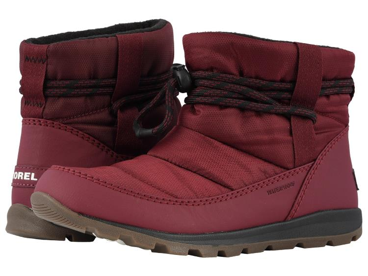 WOMENS WINE COLOR WHITNEY SHORT SNOW BOOTS