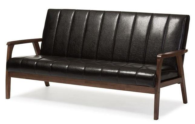​BAXTON STUDIO SCANDINAVIAN FAUX LEATHER SOFA