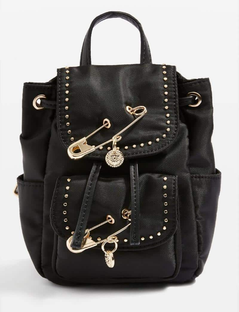 90S GRUNGE BLACK MINI BACKPACK WITH JUMBO GOLD SAFETY PINS FROM TOPSHOP