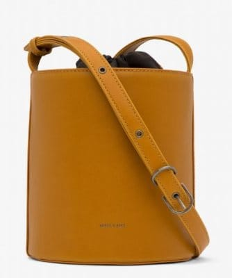 BINI MUSTARD YELLOW VEGAN LEATHER BUCKET BAG BY MATT & NAT