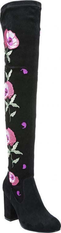 BLACK AND PINK FLORAL WOMENS THIGH HIGH BOOTS BY CARLOS SANTANA