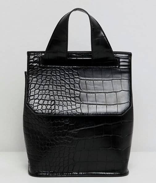 BLACK FAUX CROC MINI CONVERTIBLE BACKPACK BY ASOS DESIGN