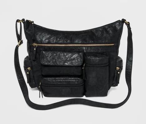 BLACK FAUX LEATHER CROSSBODY HOBO BAG BY BEUNO OF CALIFORNIA
