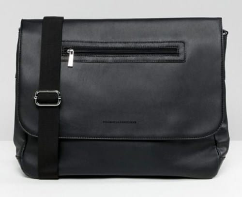 BLACK FAUX LEATHER UNISEX MESSENGER BAG BY FRENCH CONNECTION