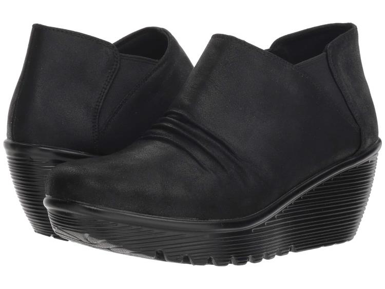 BLACK LOW PLATFORM WEDGE WOMENS ANKLE BOOTIES BY SKETCHERS