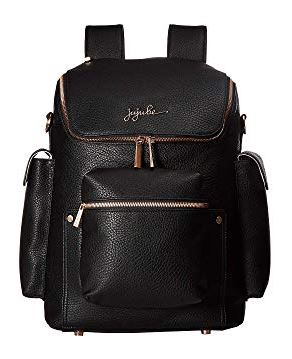 BLACK PEBBLE FAUX LEATHER FOREVER DIAPER BACKPACK BY JU-JU-BE