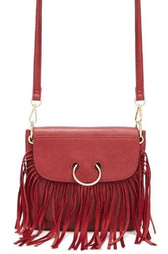 BURGUNDY O-RING CROSSBODY BAG BY FOREVER 21