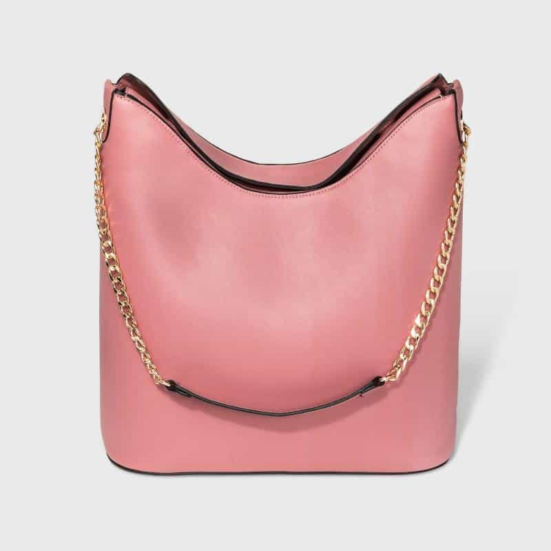 CHAIN HANDLE DUSTY ROSE FAUX LEATHER HOBO BAG BY A NEW DAY