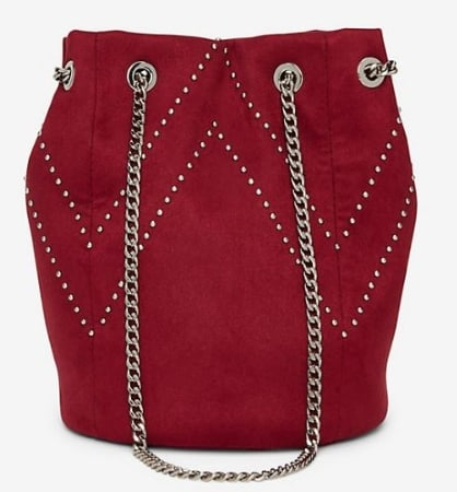 CHEVRON STUDDED BURGUNDY FAUX SUEDE BUCKET BAG BY EXPRESS
