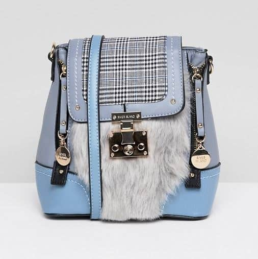 CLUELESS BABY BLUE FAUX FUR AND PLAID MINI BACKPACK BY RIVER ISLAND