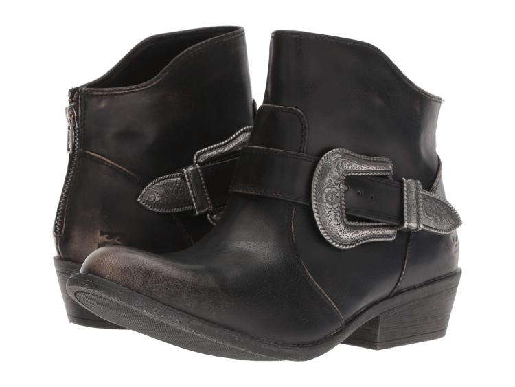 LADIES BLACK VEGAN LEATHER COWGIRL ANKLE BOOTS WITH SILVER BUCKLES BY BILLABONG