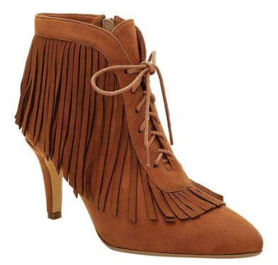 LADIES BROWN FAUX SUEDE LACE UP FRINGE BOOTIES BY ROSEWAND