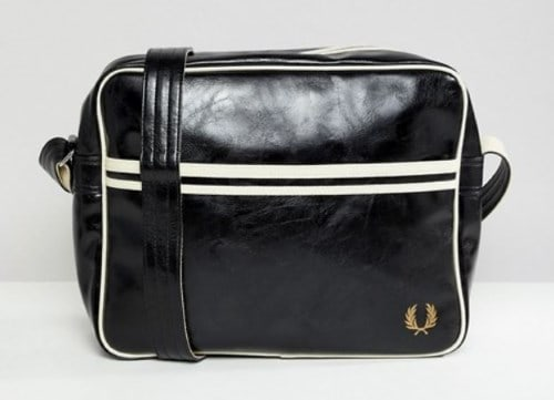 MENS BLACK FAUX LEATHER MESSENGER BAG BY FRED PERRY