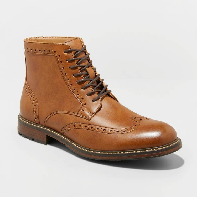 MENS BROWN WING TIP LACE UP DRESS BOOTS BY GOODFELLOW AND CO