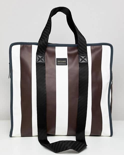 MENS BURGUNDY STRIPED FAUX LEATHER SHOPPER TOTE BY ASOS DESIGN