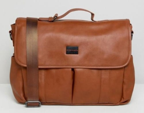 MENS MARSHALL CHESTNUT FAUX LEATHER MESSENGER BAG BY PETER WERTH